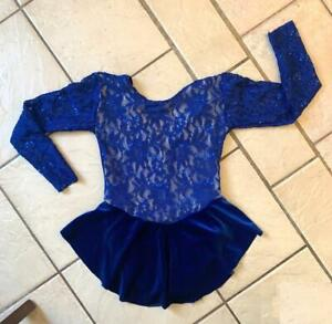 NEW GIRLS Royal BLUE Floral Lace VELVET Competition FIGURE ICE SKATING DRESS