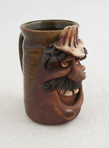 Construction Worker Man Moustache 1970s Art Pottery Figural Mug Cup (WS) Signed