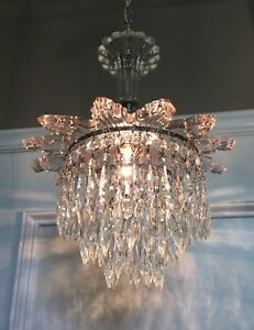 """33"""" Long Chrome & Glass Wedding Cake Fixture Beautiful Prisms Wired 44B"""