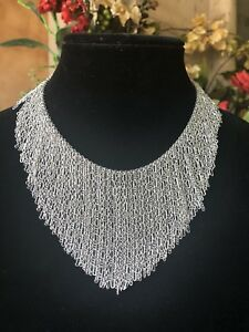 Authentic Vintage Christian Dior Cascading Silver Plated Bib Necklace