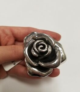 "Flower Broach Pin Pendant Massive Silver 3"" Big"