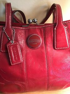 COACH RED PATENT LEATHER Satchel Handbag Purse G1098-F15658 Free Shipping