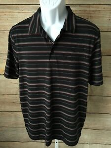 Under Armour Men's Black Red Striped Short Sleeve Golf Polo Shirt Large $19.95