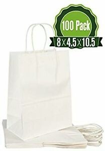 White Kraft Paper Gift Bags Bulk with Handles 100Pc [ Ideal for Shopping,...