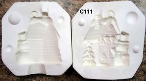 Fantasy #490 Christmas Gingerbread House Ornament Ceramic Mold (C111)