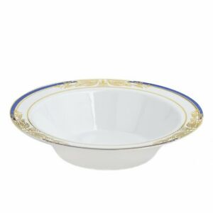 12 oz White Plastic Bowls with Gold and Blue Trim Wedding Disposable Tableware