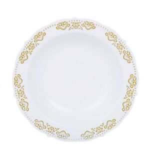 12 oz White Plastic Bowls with Gold Trim Wedding Party Disposable Tableware Sale