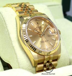 Rolex Datejust 116238 18K Yellow Gold Champagne Stick Dial Watch BOXPAPERS MINT