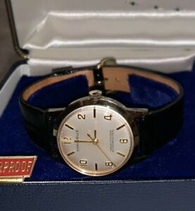 New Vintage Caravelle by Bulova Men's Mechanical Wrist Watch Gold Leather Band T
