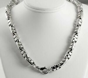 91.00 gram 14k White Gold Men's Bullet Hollow Chain Heavy Necklace 30
