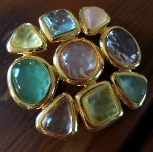 Vintage Joan Rivers Multi-Color Frosted Lucite Cabochon Flower Brooch