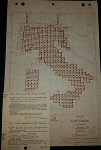 Antique 1943 Army Map Service Collection Italy AMS M691 1:100000 WW 2