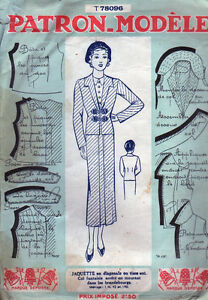 Vintage FRENCH Sewing Pattern Jacket Jaquette Nouvelle Bust 38 $24.99