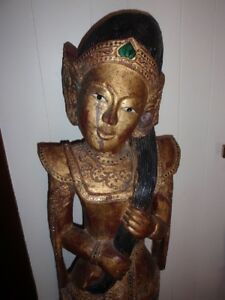 Life-Size 5' Antique Carved Teak Wood Thai Buddha Temple Protector Gold Gild