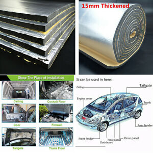 15mm Thickened 30*50cm Car Hood Door Heat Insulation Sound Deadener Foam Mat 10X