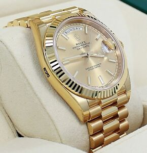 Rolex President 40mm Day-Date 228238 18K Yellow Gold Champagne Stick Dial *NEW*