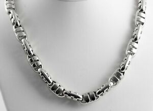 79.50 gram 14K White Gold Men's Heavy Bullet Hollow Chain Necklace 26