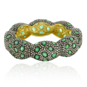 925 Sterling Silver Pave Diamond Emerald Gold Designer Bangle Free Shipping
