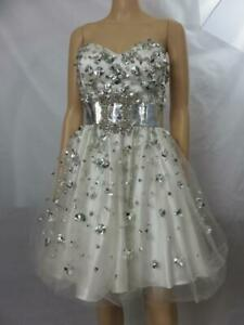 Terani White Cocktail Dress Silver Paillettes Crystals Formal Prom Size 8