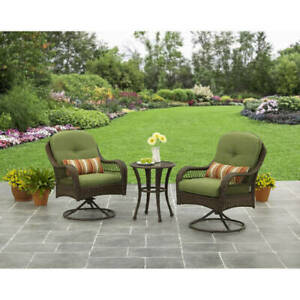 3 Piece Garden Furniture Table Chair Outdoor Patio Bistro Set All Weather Wicker