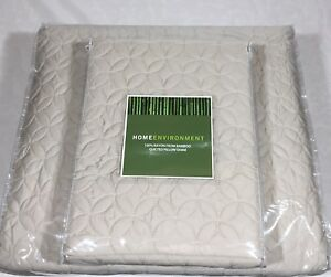3Pc Bamboo Coverlet Set Home Environment Wedding Ring Quilt Queen Beige $530 New