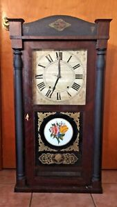 Antique RILEY WHITING CLOCK Column Empire Clock Wood Movement Winchester Conn
