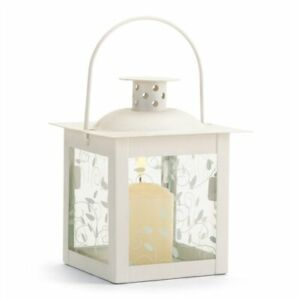 Curling Vine Small White Metal Glass Candle Lantern