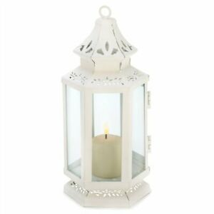 Small Victorian White Metal Candle Lantern $12.00