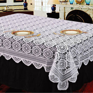 White Vintage Lace Tablecloth Floral knitted Table Cover Rectangle Wedding Decor