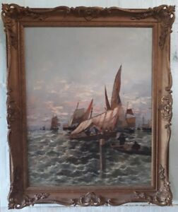 ALEXANDRE BRUN (1853-1941) FRENCH ORIGINAL OIL PAINTING MARINE BOATS SEASCAPE