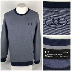 Under Armour Mens Large Rival Fleece Fitted Crewneck Sweatshirt Cotton Blend
