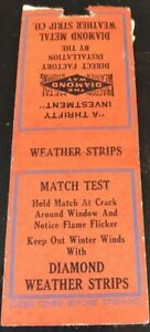 Matchbook Cover Diamond Metal Weather Strip Co. $0.99