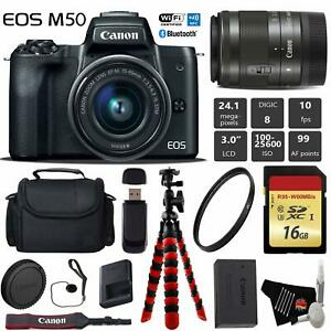 Canon EOS M50 Mirrorless Digital Camera with 15 45mm Lens Professional Bundle