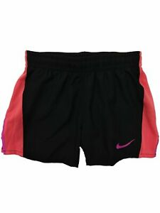 Nike Dry Girls Black & Coral Dri-fit Running Track Athletic Shorts