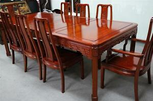 Solid Rosewood Dining Table 9pcSet Longevity Design Fine Mahogany Finish 96