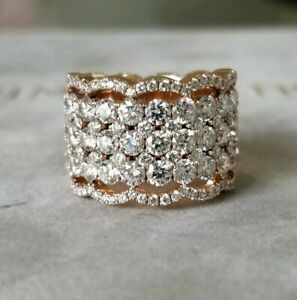 12k 3.8ct GVS2 Diamond 14k Rose Gold Ring Band Heavy 15g Vestory Designer 6