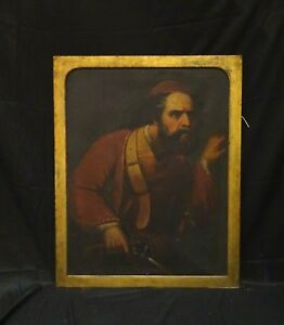 Large European 18th 19th Century Portrait Of A Pirate Smuggler & Pistol Sword