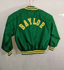 Baylor University Jacket XL Sewn Patches Fab Knit Green Unisex Basketball School