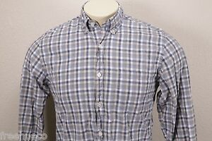J.CREW Gray Blue Cotton Multi Plaid Check Button-Down Sport Shirt -Men's Small