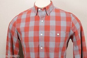 J.CREW OrangeGray Jaspe Cotton Gingham Check Plaid Sport Shirt -Men's Small