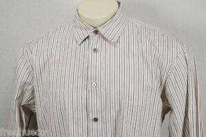 JOHN VARVATOS Light Beige Brown Striped Button Down Sport Shirt -Men's XL