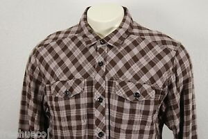 PRANA Soft Cotton Brown Tan Check Plaid Sport Shirt -Men's XL