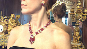 LADIES NECKLACE FOR ROYALTY 202 CT CABOCHON RUBY & DIAMOND NECKLACE WEAR CLIPS