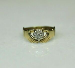 9K Yellow Gold 14 CTW Diamond Claddagh Style Ring Sz 6.75 [049DUD]