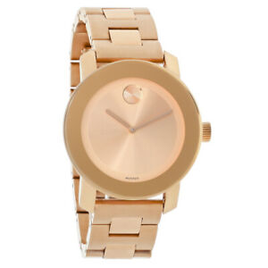 Movado Bold Ladies Rose Gold Tone Bracelet Swiss Quartz Watch 3600342