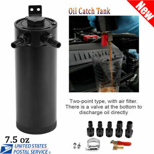 7.5 oz Car Universal Oil Catch Can Tank Oil Separator with Air Filter US Stock