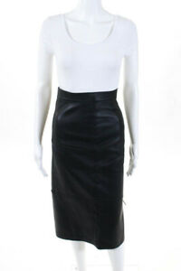 Fendi 2018 Womens Straight Pencil Skirt Black Stitched Leather Knee Length