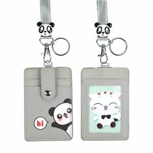 Cute Credit Card Case Neck Pouch ID Badge Holder LanyardCartoon Shield Keychain