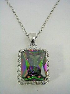 MYSTIC TOPAZ PENDANT WITH RECTANGLE AND ROUND STONES SET IN STERLING SILVER