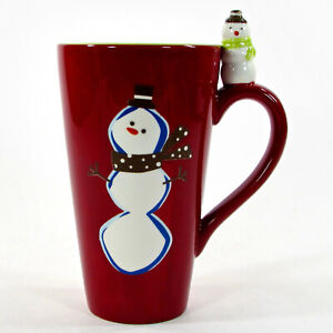 Target BE MERRY - SNOWMAN 20oz Tall Latte Mug Red Holiday 2008 Christmas